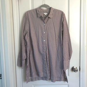 J. Jill Button Down Striped Tunic Silk Blend Sz XL